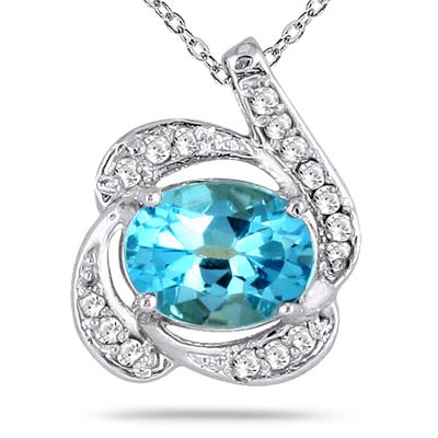 2.50 Carat All Natural Oval Blue Topaz and Diamond Pendant in Sterling Silver