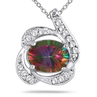 2.50 Carat All Natural Oval Mystic Topaz and Diamond Pendant in Sterling Silver
