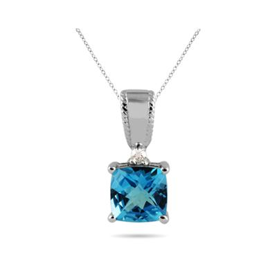 Cushion Cut Swiss Blue Topaz and White Sapphire Pendant in .925 Sterling Silver