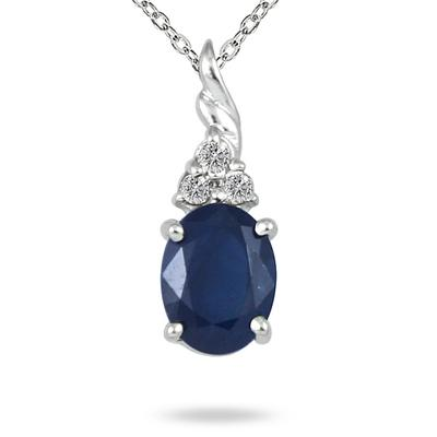 1.25 Carat Genuine Sapphire and Diamond Pendant in .950 Sterling Silver