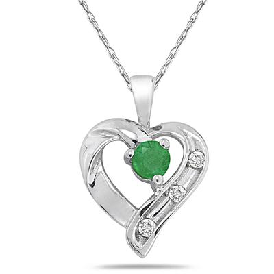All Natural Emerald and Diamond Heart Pendant in .925 Sterling Silver