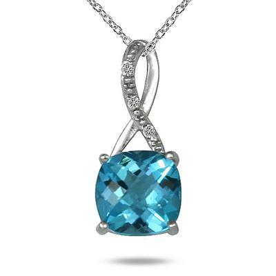 2.25 Carat Cushion Cut Swill Blue Topaz & Diamond Pendant in .925 Sterling Silver