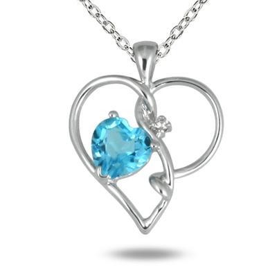 Blue Topaz and Diamond Heart Pendant in 10k White Gold