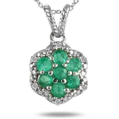 All Natural Emerald and Diamond Pendant in .925 Sterling Silver