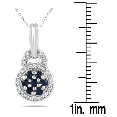 Sapphire & Diamond Pendant in Sterling Silver