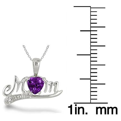 Amethyst and Diamond MOM Pendant in .925 Sterling Silver