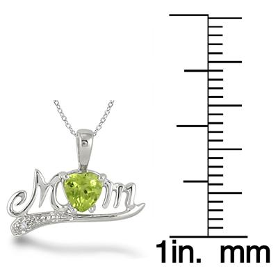 Peridot and Diamond MOM Pendant in .925 Sterling Silver