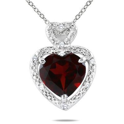 10K White Gold Heart Shape Garnet and Diamond Pendant