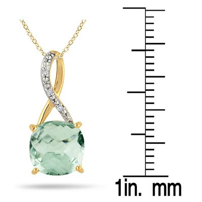 3.70 Carat Cushion Cut Green Amethyst and Diamond Pendant in 18K Yellow Gold Plated Sterling Silver