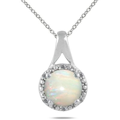 1.00 Carat 8MM All Natural Opal and Diamond Pendant in .925 Sterling Silver