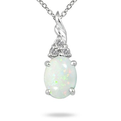 1.50 Carat Created Opal and Diamond Pendant in .925 Sterling Silver