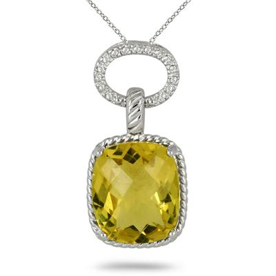 10 Carat Lemon Quartz & Diamond Pendant in .925 Sterling Silver