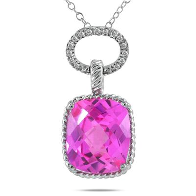 10 Carat Created Pink Sapphire and Diamond Pendant in .925 Sterling Silver