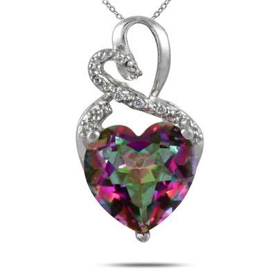 3.50 Carat Genuine Mystic Rainbow Topaz Heart and Diamond Pendant in .925 Sterling Silver