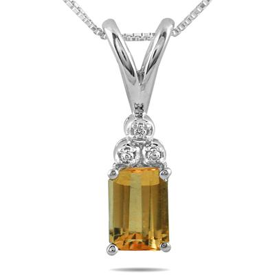 7x5mm Citrine and Diamond Pendant in .925 Sterling Silver