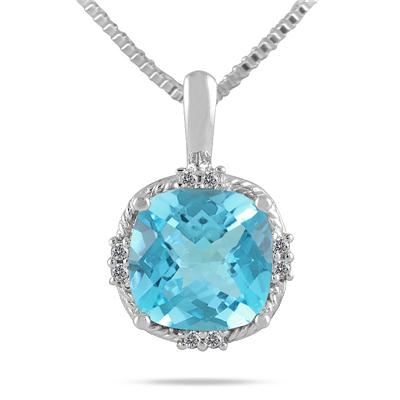 4 Carat Cushion Cut Blue Topaz and Diamond Antique Pendant in .925 Sterling Silver