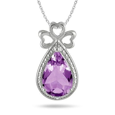 3 Carat All Natural Amethyst and Diamond Triple Heart Pendant in .925 Sterling Silver