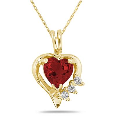 Heart Shape Garnet & Diamond Pendant in 10k Yellow Gold