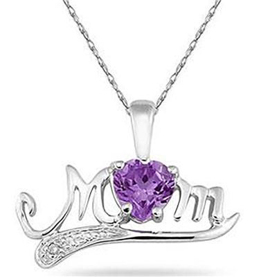 Amethyst and Diamond MOM Pendant in 10K White Gold