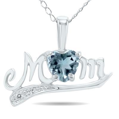 Aquamarine and Diamond MOM Pendant 10k White Gold