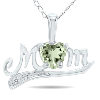Green Amethyst and Diamond MOM Pendant 10k White Gold