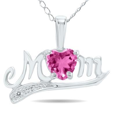Pink Topaz and Diamond MOM Pendant 10k White Gold