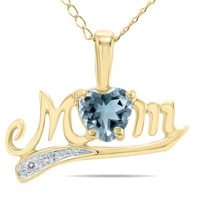 Aquamarine and Diamond MOM Pendant in 10k Yellow Gold