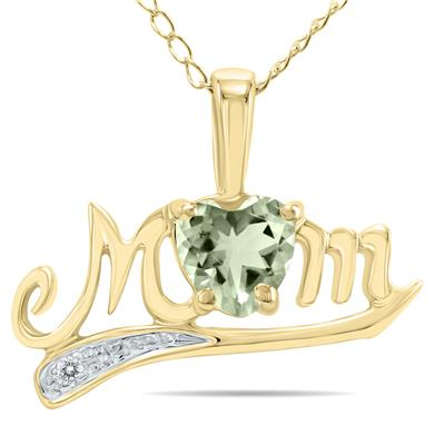 Green Amethyst and Diamond MOM Pendant in 10k Yellow Gold