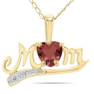 Garnet and Diamond MOM Pendant
