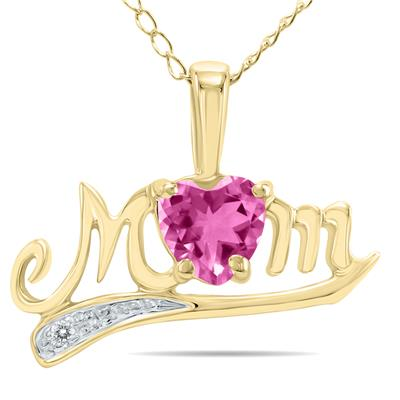 Pink Topaz  and Diamond MOM Pendant in 10k Yellow Gold