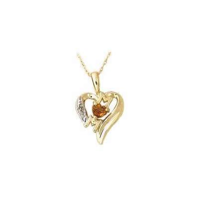 Citrine and Diamond Heart MOM Pendant