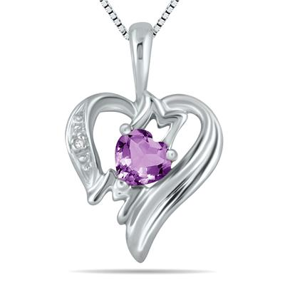 Amethyst and Diamond Heart MOM Pendant in 10K White Gold