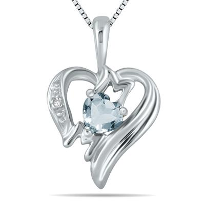 Aquamarine  and Diamond Heart MOM Pendant in 10K White Gold