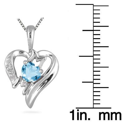 Blue  Topaz  and Diamond Heart MOM Pendant in 10K White Gold