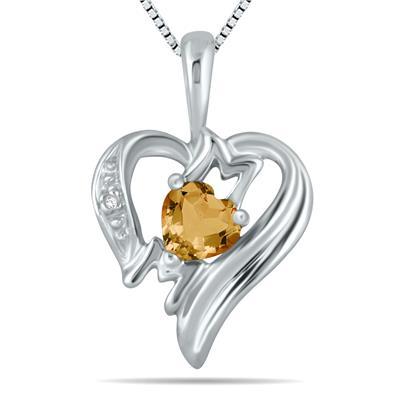 Citrine and Diamond Heart MOM Pendant in 10K White Gold