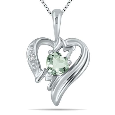 Green Amethyst and Diamond Heart MOM Pendant in 10K White Gold