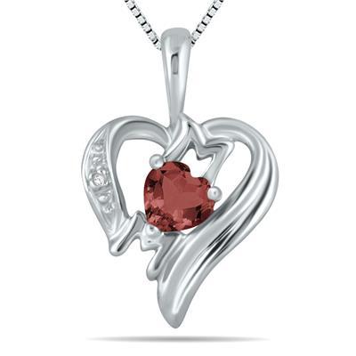 Garnet and Diamond Heart MOM Pendant in 10K White Gold