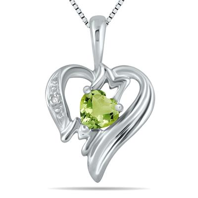 Peridot and Diamond Heart MOM Pendant in 10K White Gold