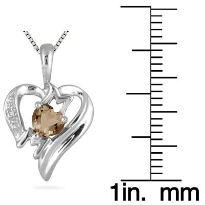 Smokey Quartz and Diamond Heart MOM Pendant in 10K White Gold