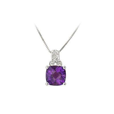 Diamond and Amethyst Pendant in 14k White  Gold
