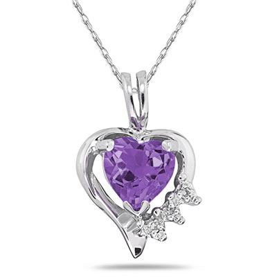 6MM Heart Shape Amethyst and Diamond Pendant in 10K White Gold