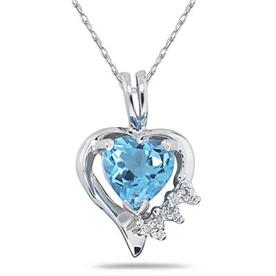 Heart Shape Blue Topaz & Diamond Pendant