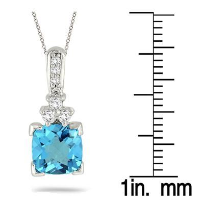 2.25 Carat Blue Topaz and Diamond Pendant 14k White Gold