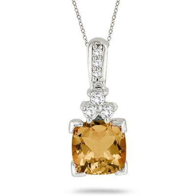 2.25 Carat Citrine and Diamond Pendant 14k White Gold
