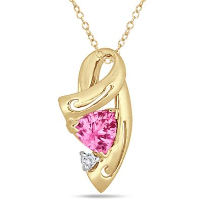 Pink Tourmaline Pendant in 14k Yellow Gold