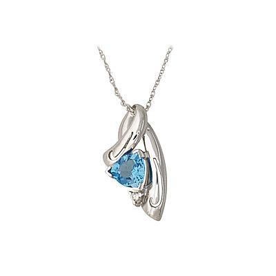 14-kt. White Gold Blue Topaz Diamond Pendant