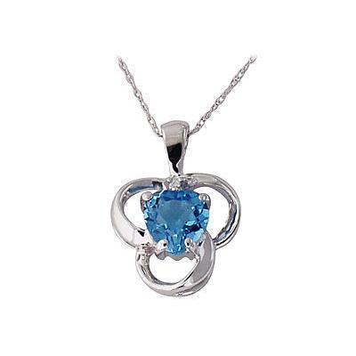 Blue Topaz and Diamond Clover Heart Pendant 14kt White Gold