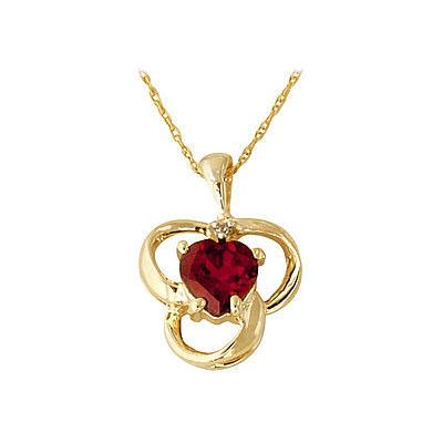 Garnet and Diamond Clover Heart Pendant 14kt Yellow Gold