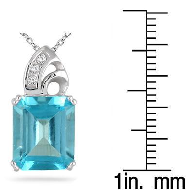 Blue Topaz and Diamond Pendant 10k White Gold