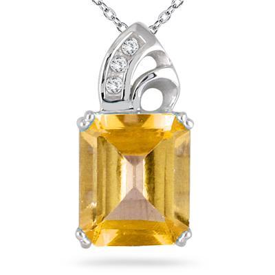 Citrine and Diamond Pendant 10k White Gold